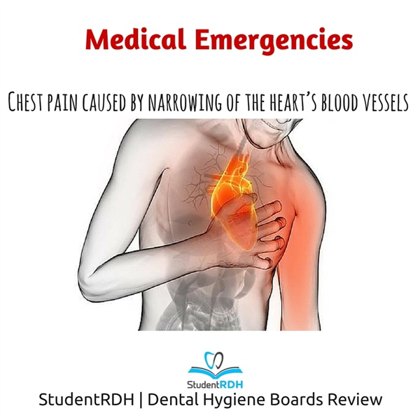 angina, ental hygiene exam, dental hygiene board, NBDHE, medial emergencies